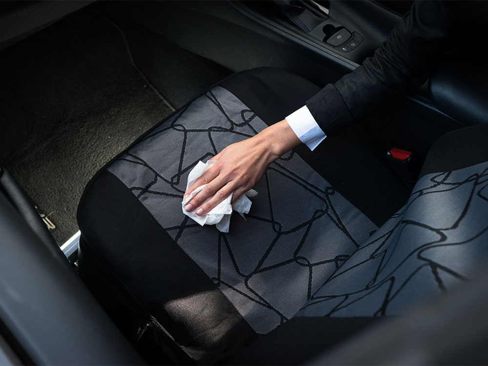 Carpet wipes on car upholstery